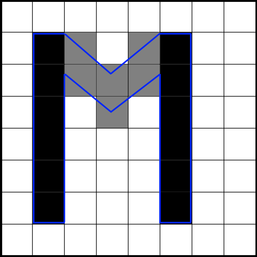 Letter 'M' rendered on an aligned grid position