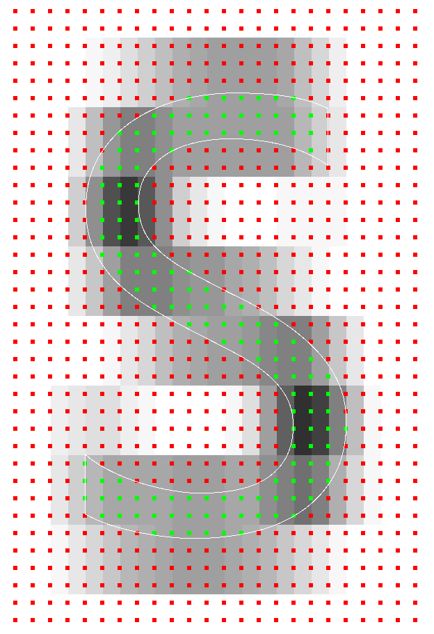 Debug visualization of the horizontal pixel mask applied